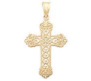 EternaGold Polished Cross w/Open Work Pattern - J337453