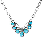 Carolyn Pollack Sterling Turquoise Petite Plaque Necklace - J337753