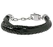 Stainless Steel and Multiple Rows Leather Bracelet - J337853