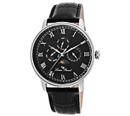 Lucian Piccard Moubra Mens Multi-Function Black Leather Watc - J339053