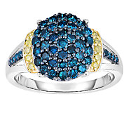 Blue & Yellow Diamond Ring, 1.00cttw, Sterling,by Affinity - J339253