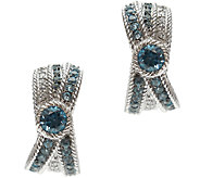 Judith Ripka Sterling Blue Topaz & Diamonique J-Hoop Earrings - J340553