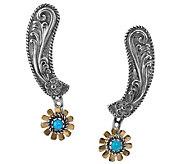 American West Sterling Turquoise Floral Spur Earrings - J341753