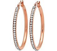 Stainless Steel 1-1/2 Crystal-Lined Hoop Earrings - J342153