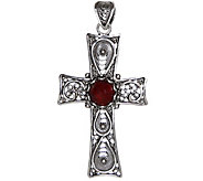 Artisan Crafted Sterling Filigree Gemstone Cross Pendant - J342653