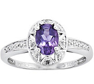 Sterling Oval Gemstone & Diamond Accent Ring - J343453