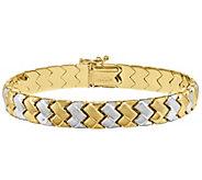 14K Gold Two-tone Zig-Zag 7 Bracelet - J343653