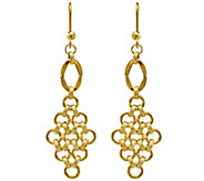 14K Gold Chainmail Pattern Dangle Earrings - J344853