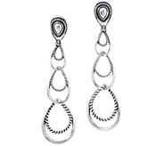 Carolyn Pollack Sterling Silver Triple Loop Dangle Earrings - J347053