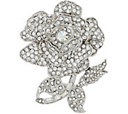 Joan Rivers Simulated Diamond Rose Brooch - J347653
