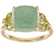 Burmese Jade & Peridot Ring, 14K Gold 0.50 cttw - J348253