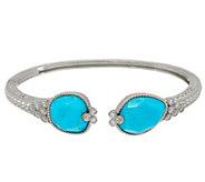Judith Ripka Sterling Silver Turquoise & Diamonique Cuff Bracelet - J348453