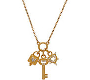 Judith Ripka 14K Gold Diamond Lock & Key Charm Necklace - J348853