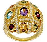 Judith Ripka Sterling Silver & 14K Clad Multi-Gemstone Ring - J349053
