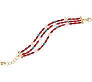 Red Coral Bead & Gemstone 3 Strand Bracelet by American West - J349453