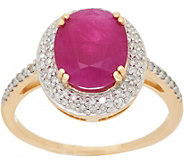 Oval Ruby & Pave Diamond Solitaire Ring 14K Gold 2.40 cts - J350053