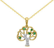 14K Green Crystal & Diamond Accent Tree Pendant with Chain - J375053