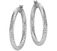 Sterling Round Diamond Cut Hoop Earrings by Silver Style - J375853