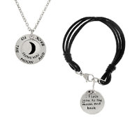 "Stainless Steel ""I Love You to the Moon & Back"" Bracelet or"