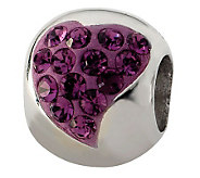 Prerogatives Sterling Purple Crystal Small Heart Bead - J113254
