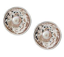 Hagit Sterling Reflections Cultured Pearl Stud Earrings