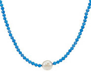 Honora Cultured FreshwaterPearl 11.5mm Ringed 17 Gemstone Bead Necklace - J270854