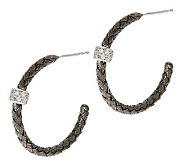 VicenzaSilver Sterling 1 Woven Hoops w/ Diamonique Station - J281254