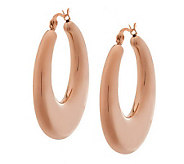 Stainless Steel Puffed Hoop Earrings - J282054