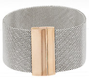 Bronze Two-Tone Stainless Steel Mesh Bracelet w/Magnet by Bronzo Italia - J285854