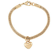 Stainless Steel Polished Heart Dangle Charm Mesh Bracelet - J294354