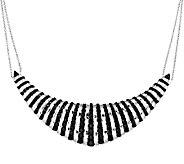 18.00 ct tw Black Spinel Sterling Frontal Design Necklace - J295754