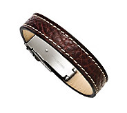 Forza Mens Stainless Steel Brown Leather Bracelet - J313254