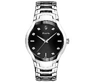 Bulova Mens Stainless Steel Two-Tone & Black Dial Watch - J316254