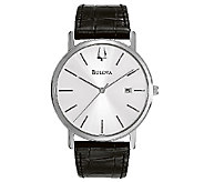 Bulova Mens Stainless Steel Black Leather Strap Watch - J316454