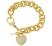 Judith Ripka Verona 6 3/4 Sterling & 14K Clad Charm Bracelet 32.8g - J320054