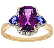 Uruguayan Amethyst and Tanzanite Ring, 14K Gold 2.20 cttw - J328254