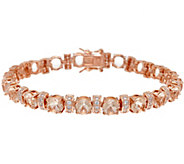 Diamonique Simulated Morganite Bracelet, 14K Rose Clad - J328954