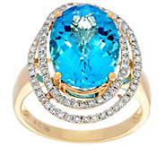 Swiss Blue Topaz & Pave Diamond Ring, 14K Gold 6.10 ct - J330254