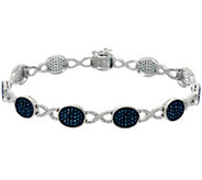 Blue Diamond 7-1/4 Station Bracelet, Sterling, 1.35 cttw, Affinity - J330554