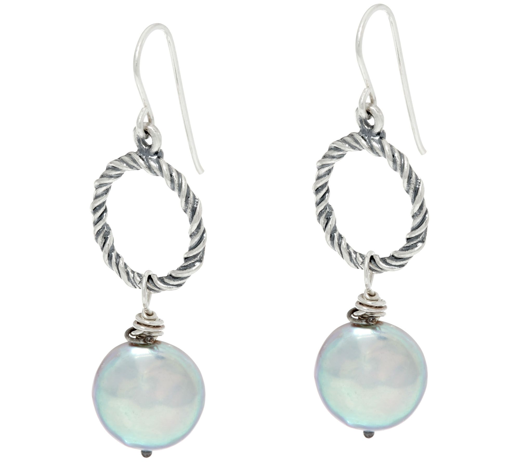 sterling silver cultured coin pearl drop earrings by or