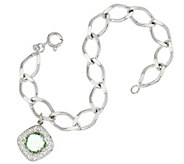 As Is JMH Jewellery Sterl ing Bracelet with Green Quartz Charm - J331954
