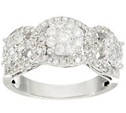 As Is 3-Stone Cluster Design Diamond Ring, 14K, 1.00 cttw, by Affinity - J332654