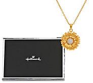 As Is Hallmark Diamonique Flower Sister Pendant - J334054
