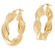 Arte d Oro 1 Satin Finish Twist Hoop Earrings, 18K - J334954