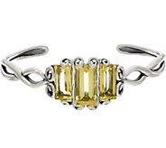 Carolyn Pollack Baguette Quartz Sterling Silver Cuff 12.50cttw - J348854