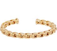 Italian Gold Small Status Link Cuff Bracelet, 14K Gold, 10.4g - J350954