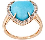 Kingman Turquoise Heart Design Ring, 14K - J354054