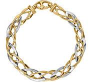 Italian Gold Two-Tone Marquise Link Bracelet 14K, 5.7g - J377654