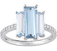 3.30 cttw Blue Topaz & 1/7 cttw Diamond 3-StoneRing, 14K - J377754