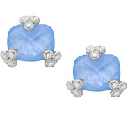 Judith Ripka Sterling Milky Aquamarine Stud Earrings - J380254